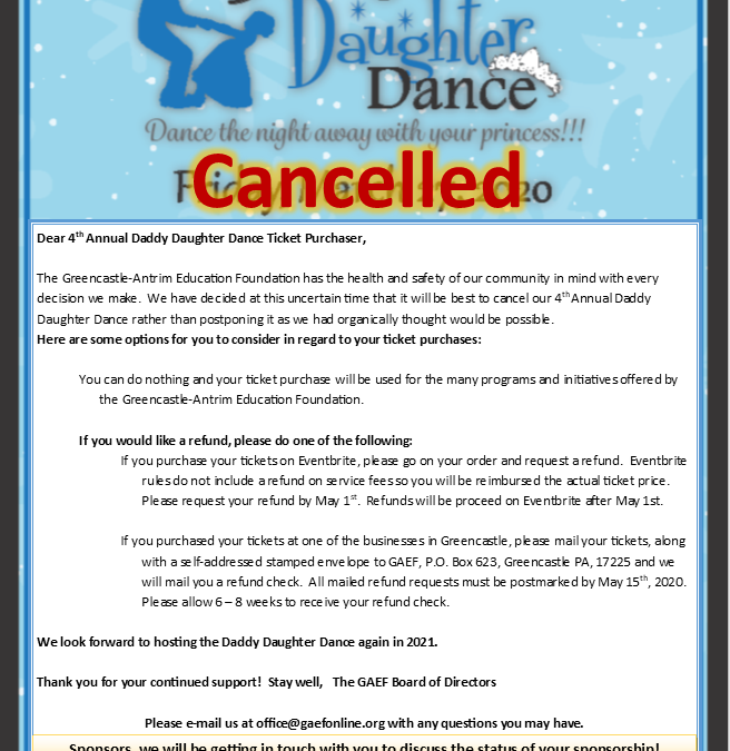 4th Annual Daddy Daughter Dance Cancellation Notice