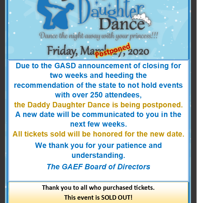 4th Annual Daddy Daughter Dance Postponed