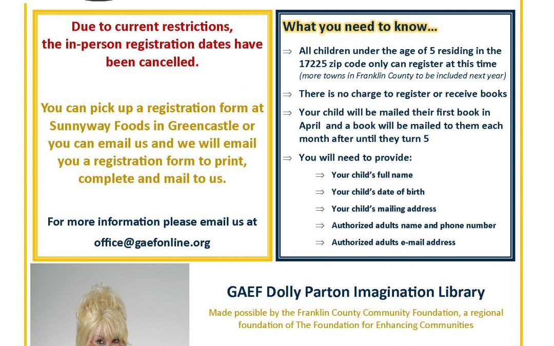GAEF Dolly Parton Imagination Library – Registration is Open